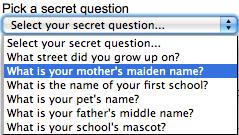secret question security